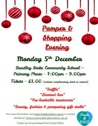 Shopping and Pamper Evening Update - Monday 5 December